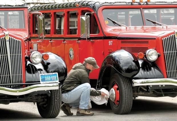 The famed red buses of Glacier National Park