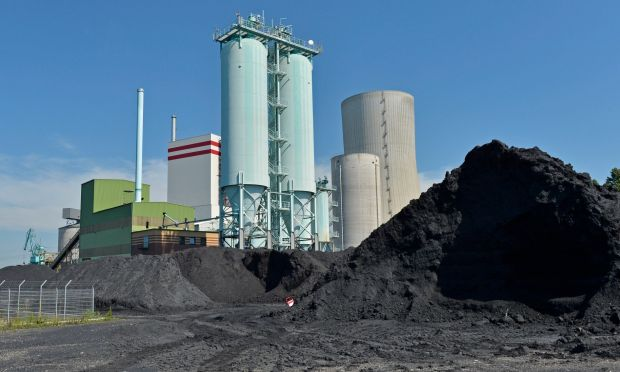 Coal is stored at the Trianel power plant