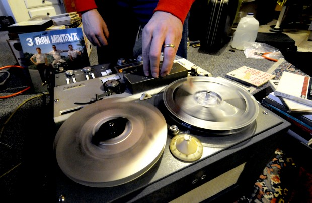 Dave Martens loads a reel-to-reel tape