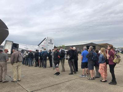 Crowds at Duxford line up to see Miss Montana