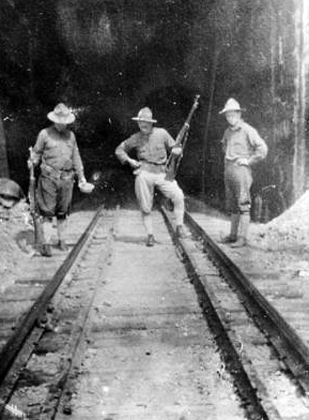 Soldiers Guarding Milwaukee Railroad Tunnel at Milltown Dam