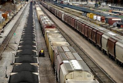 A coal train sits in the rail yard in Missoula.