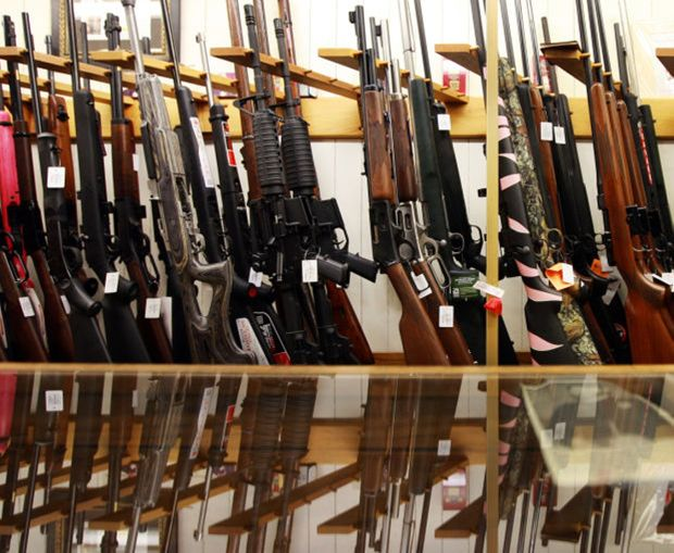 Rifles are lined up for sale