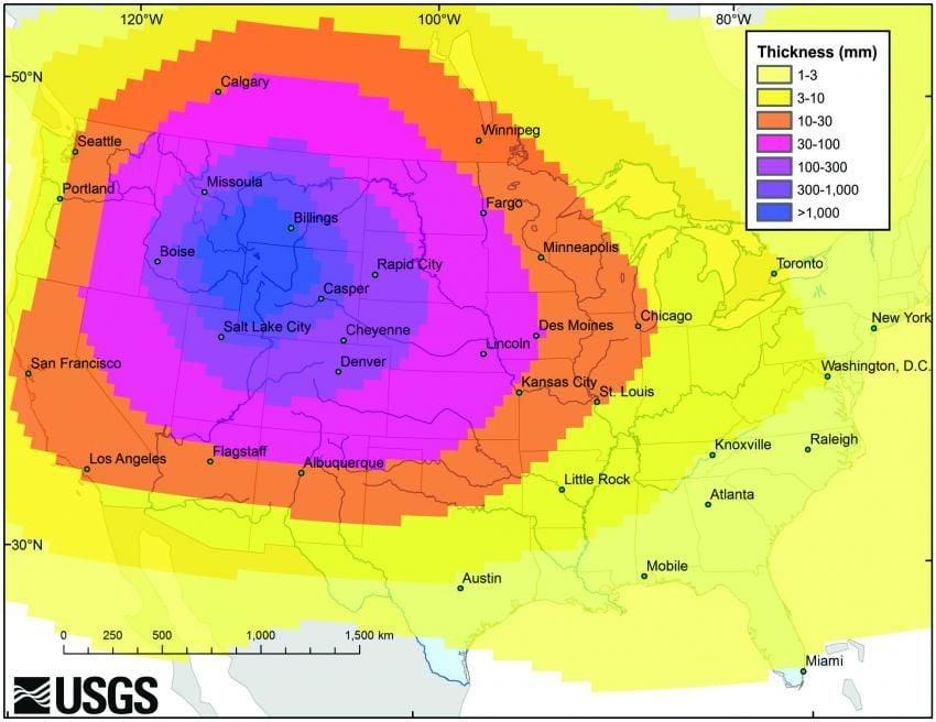 Projected Yellowstone ashfall range