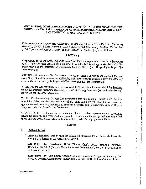 Community Medical Center Monitoring Agreement Missoulian