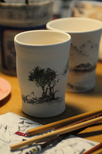 Beth Lo cups with painting by KiahsuangLo