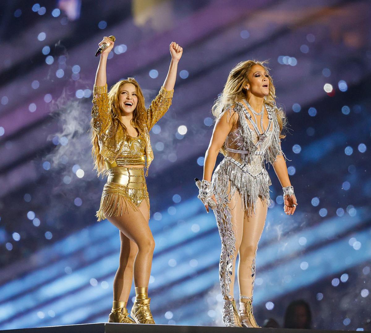 Shakira and Jennifer Lopez perform during the Pepsi Super Bowl LIV Halftime Show at Hard Rock Stadium in Miami Gardens, Fla., on Sunday, Feb. 2, 2020.