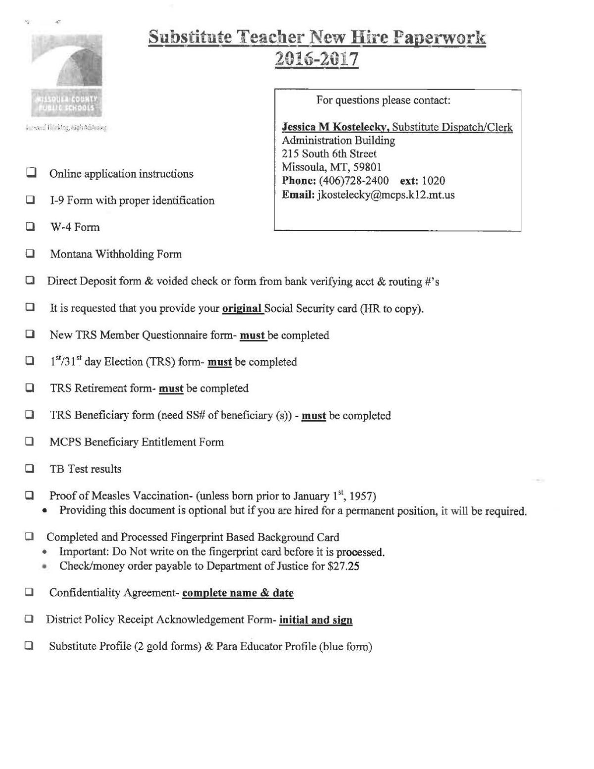 MCPS substitute teacher new hire paperwork, handbook