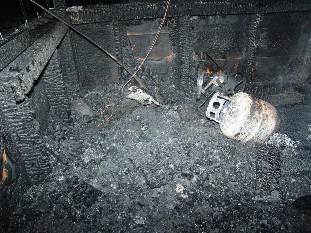 The aftermath of a turkey fryer fire