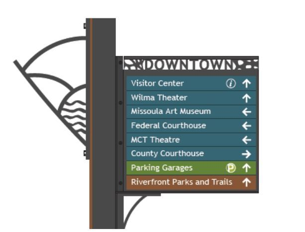Missoula wayfinding sign