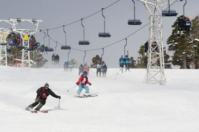 Skiers at Great Divide