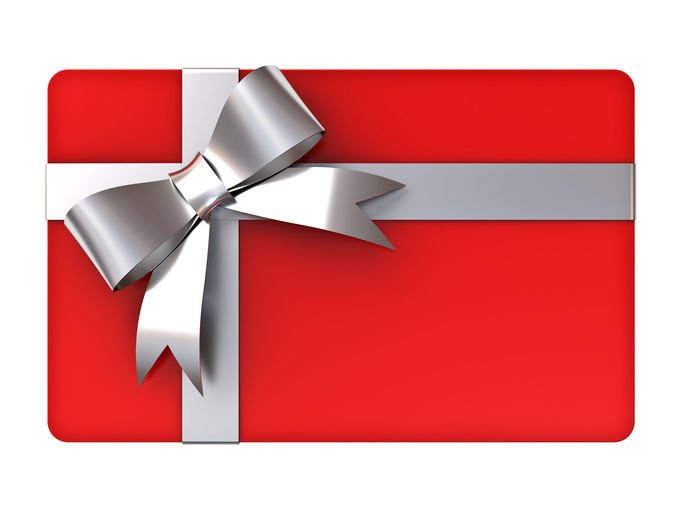 Red gift card with silver ribbons and bow