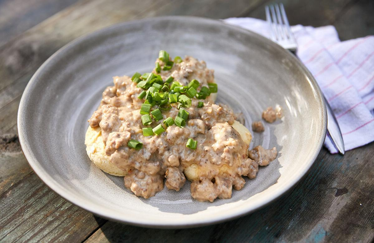 Biscuits and gravy in dish