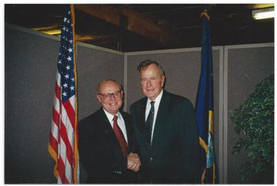 Bob Brown poses with President George H.W. Bush