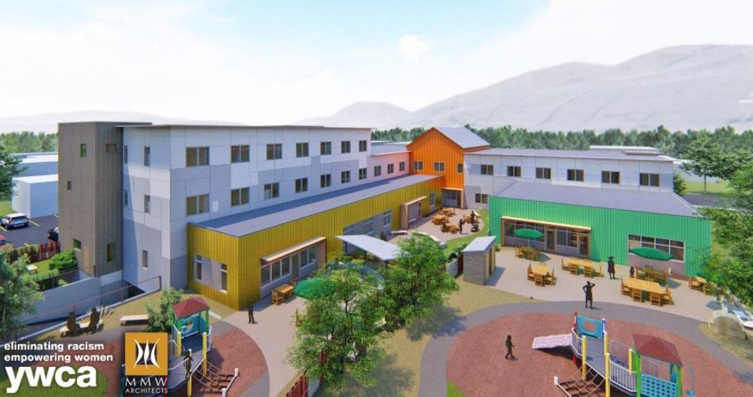 YWCA courtyard view of new facility
