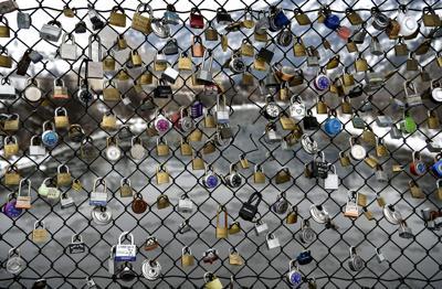 Lovers locks on the Van Buren footbridge