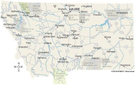 Map of Montana \