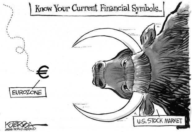 Cartoon If Us Stock Market Symbol Is A Bull Eurozones Is More