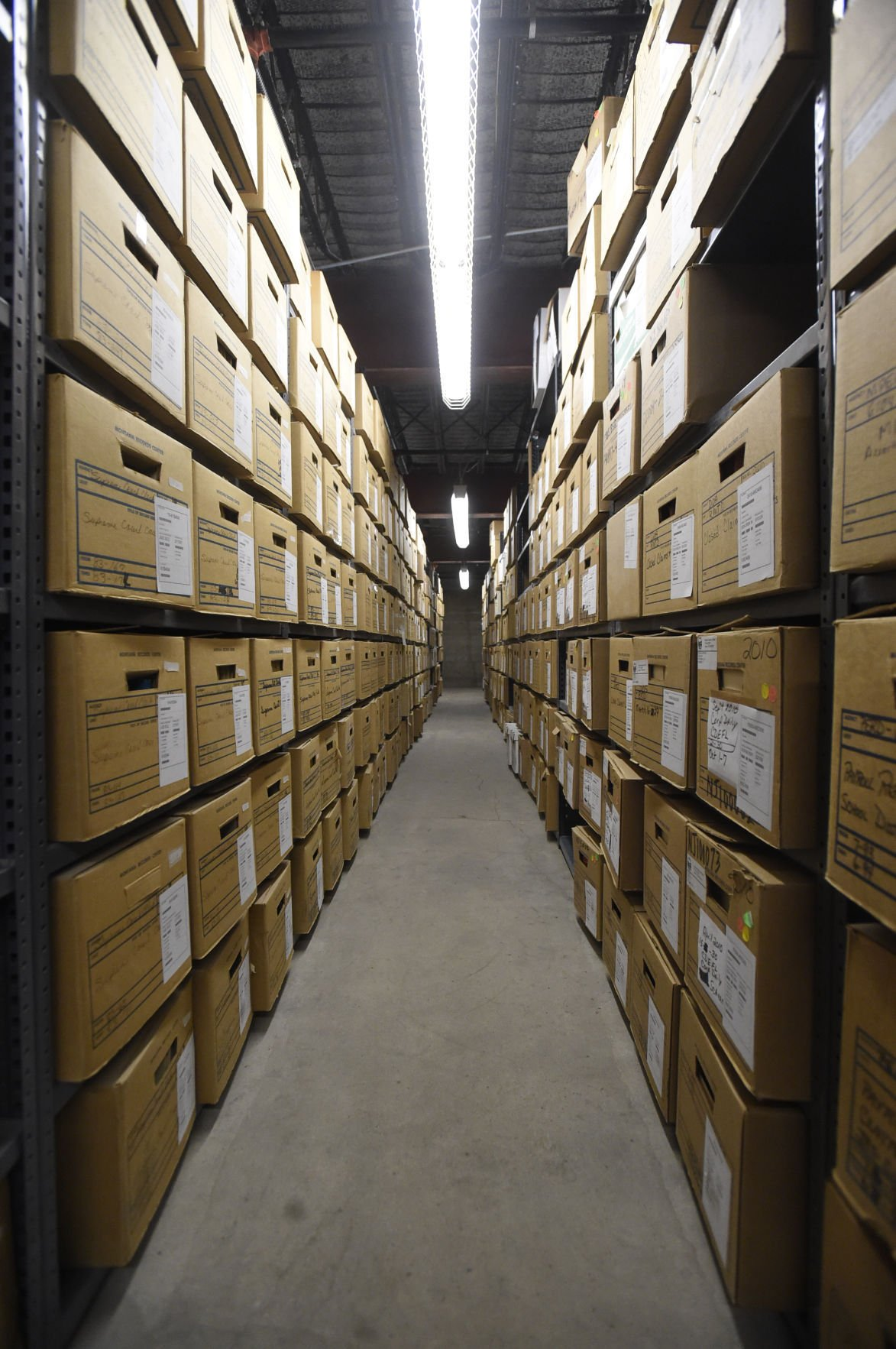 Shelves of boxed state records