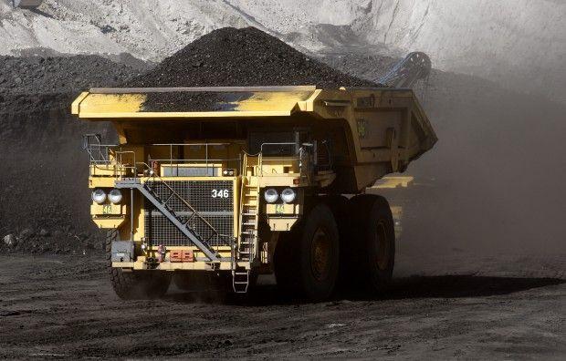 A hauler truck moves coal