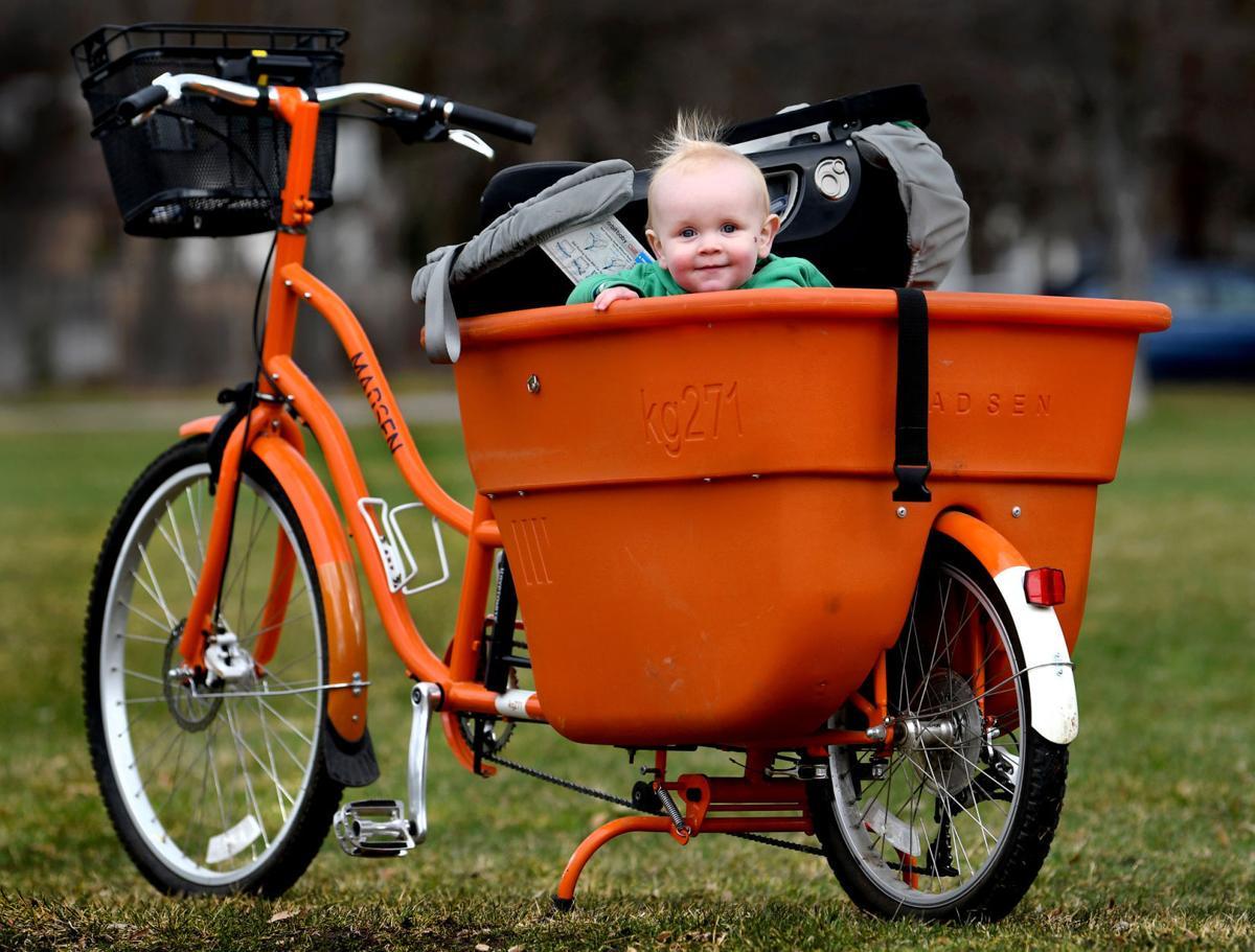 Baby in a basket in Bonner Park