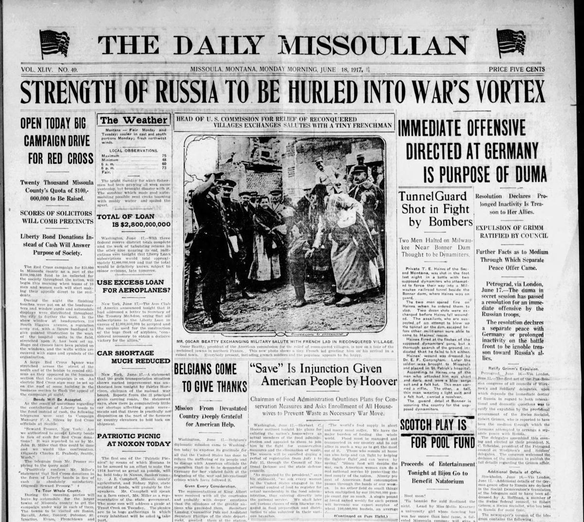 Missoulian Page 1 June 18, 1917