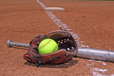 softball glove and bat stockimage