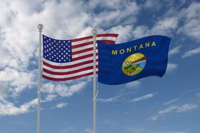 US flag, Montana state flag
