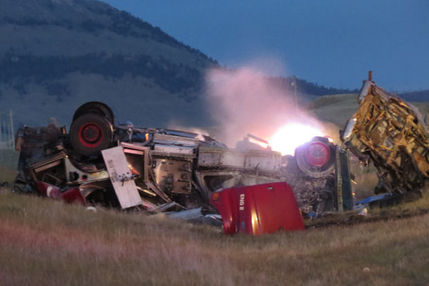 The wreckage from a two-vehicle crash