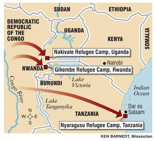 Lake Tanganyika On A Map Of Africa.Map Of African Refugee Camps Missoulian Com