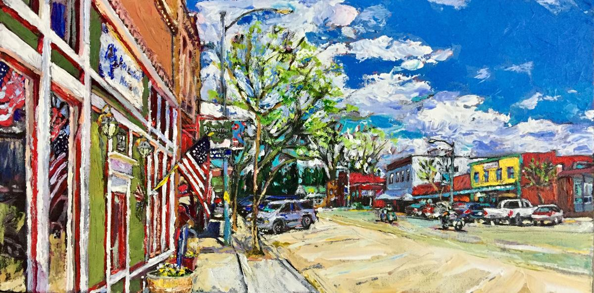 Image result for small town painting