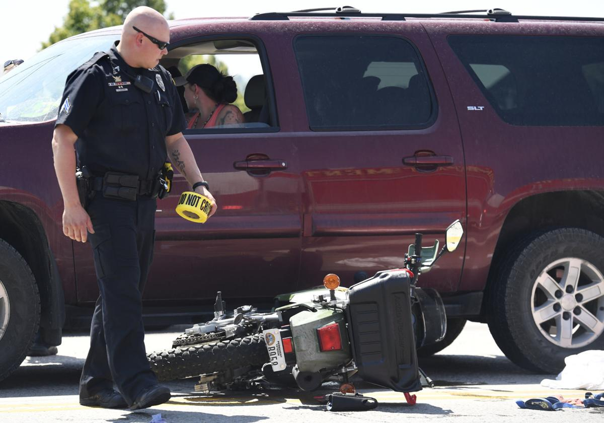 motorcycle crash stock image