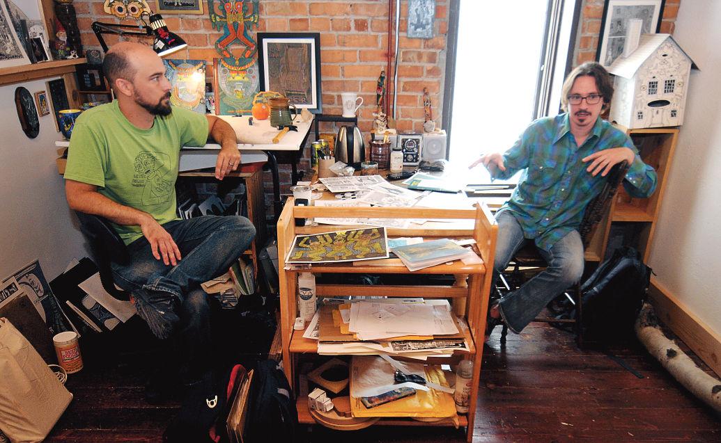 Illustrator Theo Ellsworth, left, and writer Josh Wagner