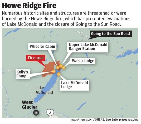 Historic sites in jeopardy from the Howe Ridge fire