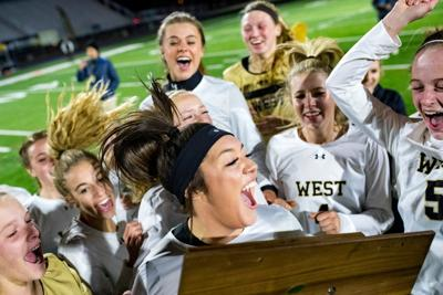 The Billings West girls celebrate