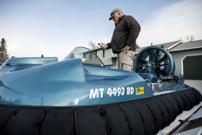 Jim Crews and his hovercraft