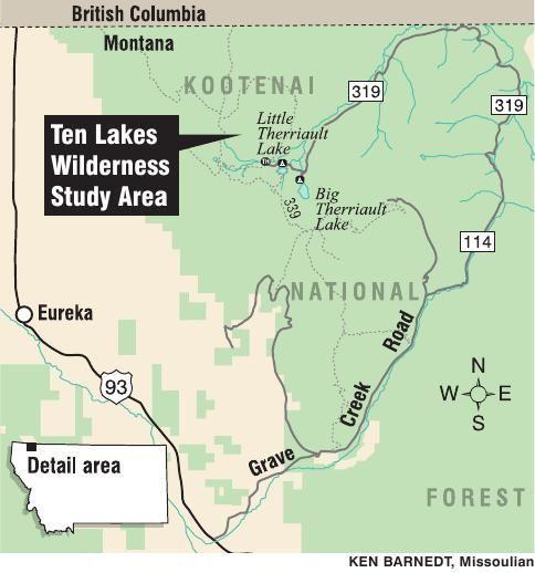 Map of Ten Lakes Wilderness Study Area | | missoulian.com