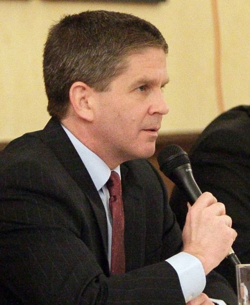 Corey Stapleton answers a question in the debate Tuesday.