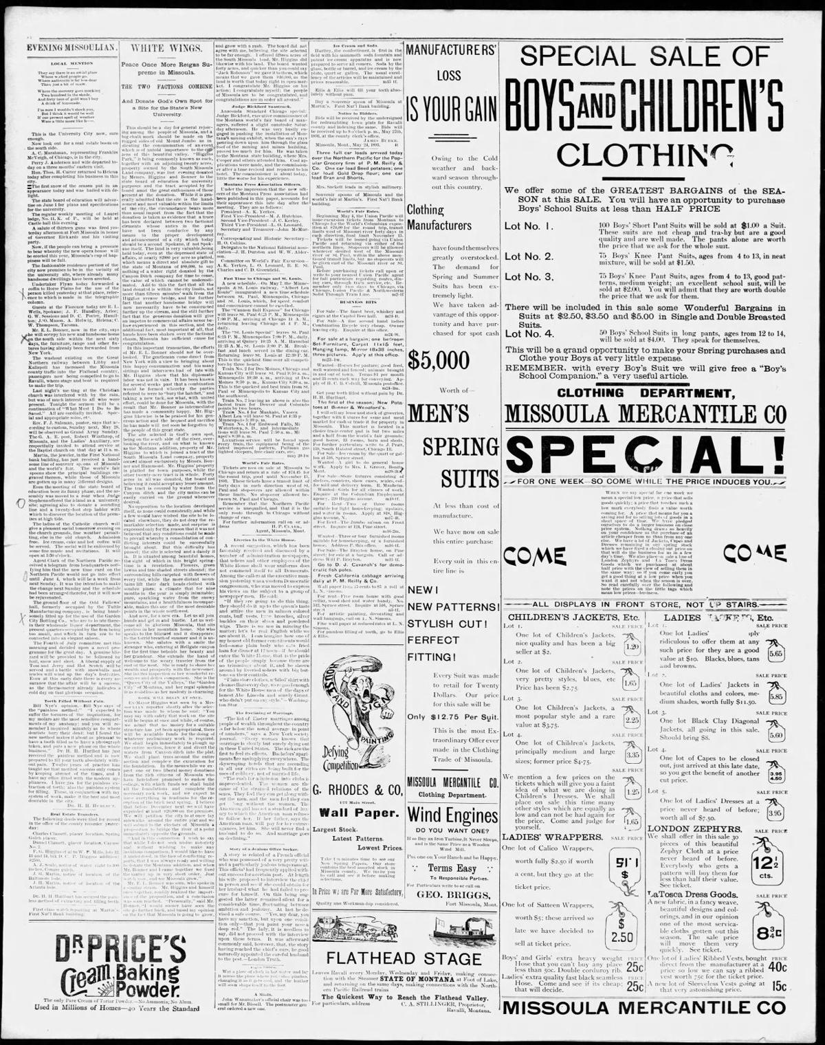 University land donation 1893