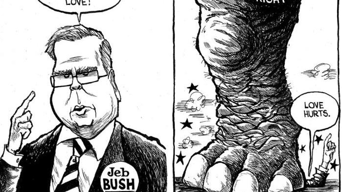 CARTOON: 'Right' stomps Jeb Bush for saying illegal