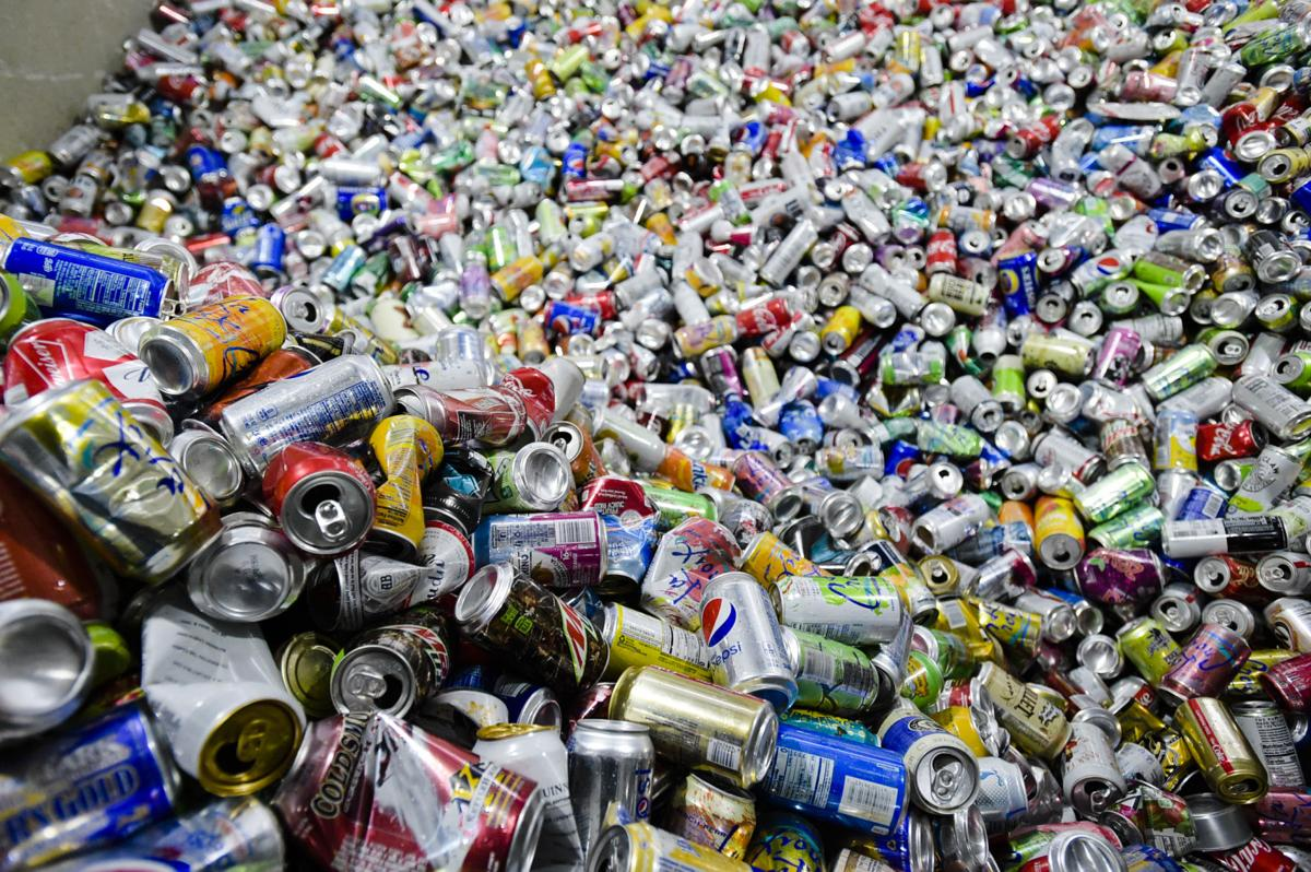Sorted aluminum cans sit at Helena Recycling.