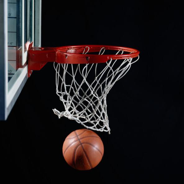 Basketball in Hoop stockimage