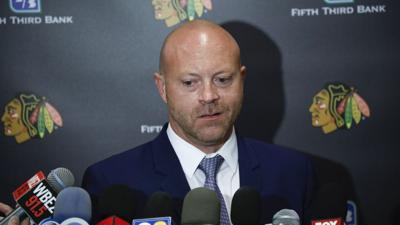Blackhawks general manager Stan Bowman speaks to the media on the first day of training camp o.n Sept. 13, 2019, at Fifth Third Arena in Chicago.