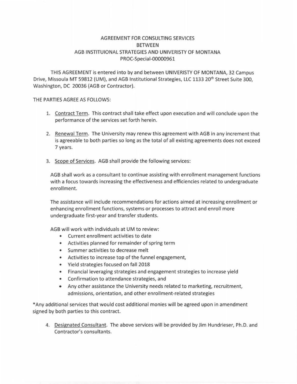 UM and AGBIS contract 2018