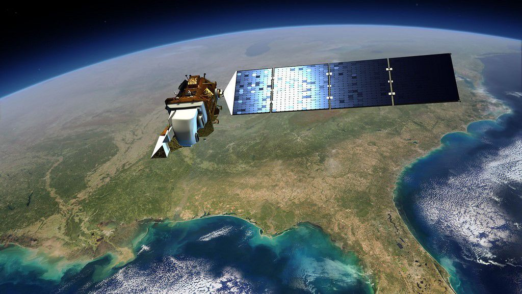 Rendition of Landsat 8 as it passes over the Gulf of Mexico