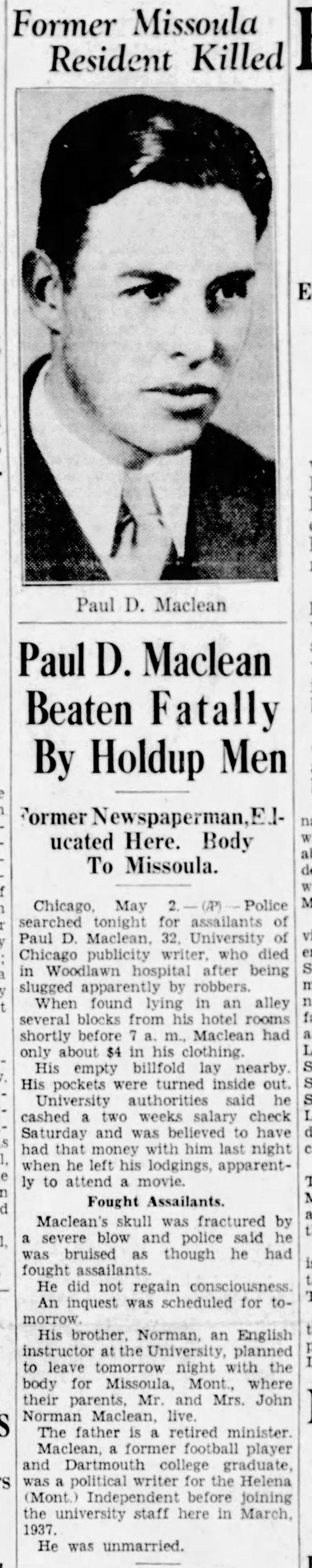 Paul Maclean beaten fatally by holdup men 1938