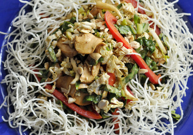 Puffed Rice Stick Noodles Add Crunch To Chinese Chicken Salad Food