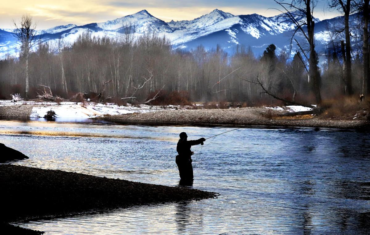 A fisherman tests the waters of the Bitterroot River near Stevensville.