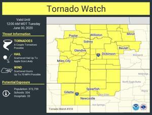 Tornado watch called for Eastern Montana