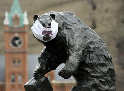 Face mask on UM griz statue - March 2020
